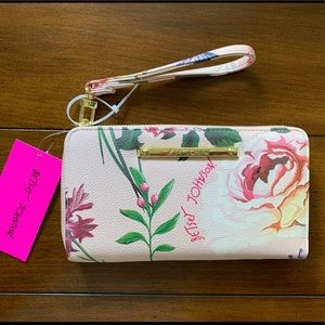 NWT Betsey Johnson Pink Floral Wallet Wristlet